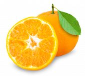 Orange mandarin or tangerine fruit isolated