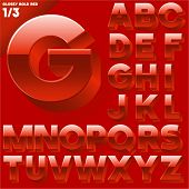 Vector alphabet of simple 3d glossy letters. Sans bold.  Red Upper cases
