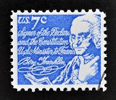 A stamp printed in USA shows Benjamin Franklin