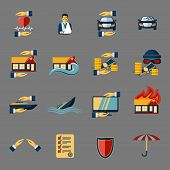 stock photo of fire insurance  - Insurance security icons set of medical property house protection isolated vector illustration - JPG