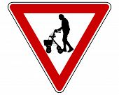 stock photo of rollator  - Detailed and colorful illustration of give way to elderly people - JPG