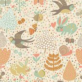 pic of swallow  - Cute seamless pattern with birds swallows - JPG