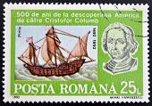 stamp shows Bust of Columbus and ship La Pinta 500th Anniversary of Discovery of America