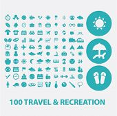 100 travel, recreation, vacation flat icons set  for digital web, print, design, mobile phone apps,