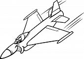 foto of fighter plane  - Black and White Cartoon Illustration of Funny Jet Fighter Plane Mascot Character for Coloring Book - JPG