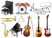 foto of g-string  - Illustration of the set of musical instruments on a white background - JPG
