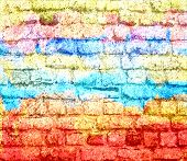 stock photo of graffiti  - Art graffiti brick wall - JPG