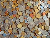stock photo of copper coins  - Collection of the old circulated coins - JPG
