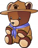 stock photo of boy scouts  - A cute teddy bear cub stuffed animal dressed as a boy scout with bandanna and adventure hat - JPG