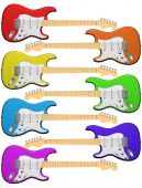 picture of stratocaster  - Isolated illustration of seven electric guitars in colors of the rainbow - JPG