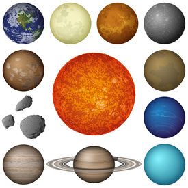 stock photo of uranus  - Space set of isolated planets and objects of Solar System - JPG