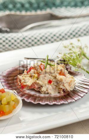 Close Up Of Tuna Salad On A Shell.