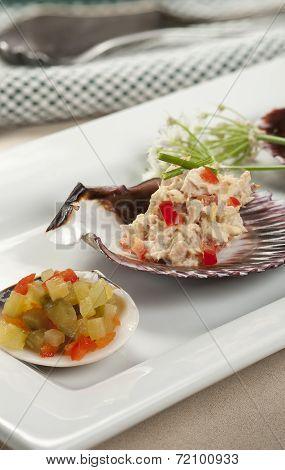 Diced Cucumbers And Tuna On Shells.