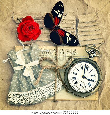 Old Love Mails, Vintage Pocket Watch, Red Rose Flower And Butterfly