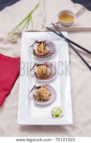 Overview Of Korean Noodles On Seashells.