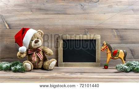 Christmas Decoration With Antique Toys Teddy Bear And Rocking Horse