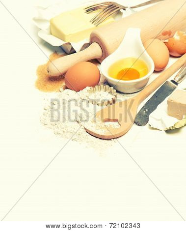 Eggs, Flour, Sugar, Butter, Yeast. Dough Preparation