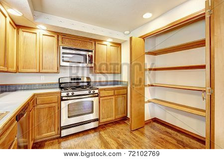 Kitchen Interior In Empty House.