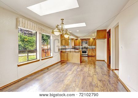Empty House With Open Floor Plan. Living Room And Kitchen Area
