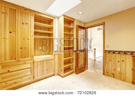 Bright Office Room With Wooden Cabinets And Skylight