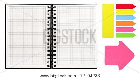Open Book With Spiral Binder And Colorful Sticky Notes