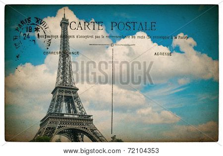 Antique French Postcard  From Paris With Eiffel Tower And Blue Sky