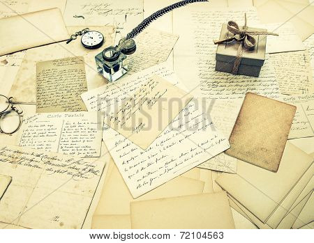 Old Letters, Vintage Postcards And Antique Feather Pen