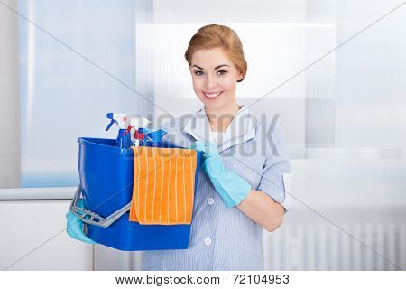 Young Maid Holding Cleaning Supplies