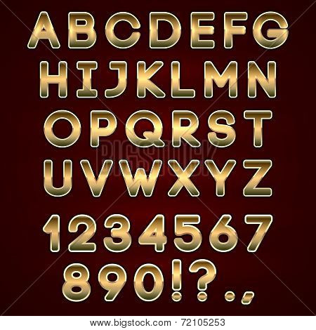 Vector bold golden neon alphabet letters  on dark background