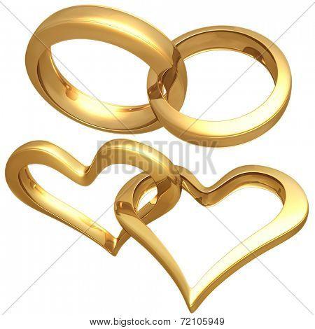 Gilded Heart Rings 3D