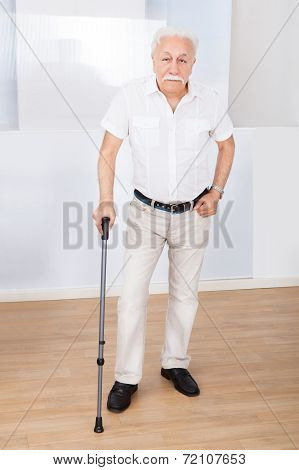 Portrait Of Senior Man With Walking Stick
