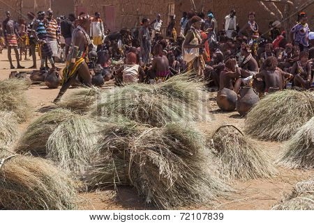 Hamar People At Village Market.
