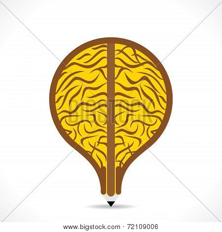 creative big brain design in pencil make bulb shape design vector