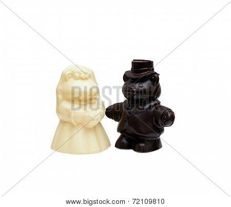 Image of chocolate wedding cake figurines