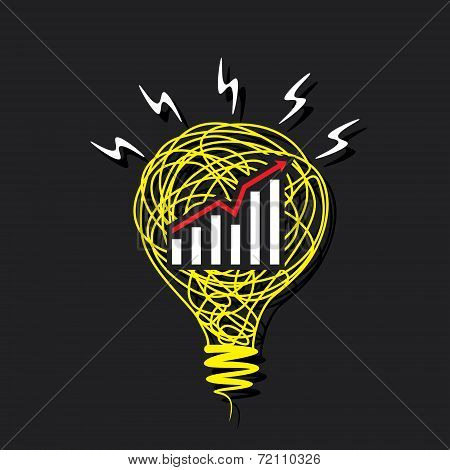 creative business growth graph on sketch bulb design vector