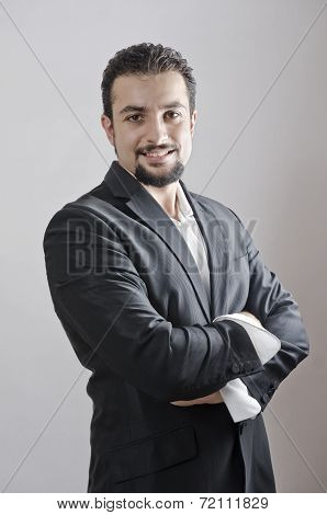 Adult Man Portrait With Goatee Posing In Studio Shot