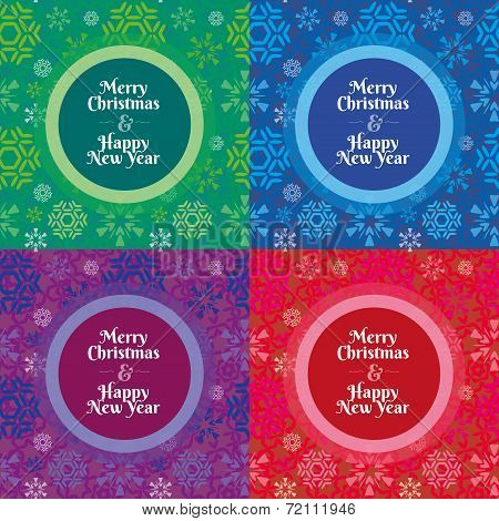 Merry Christmas And Happy New Year Snowflakes Pattern