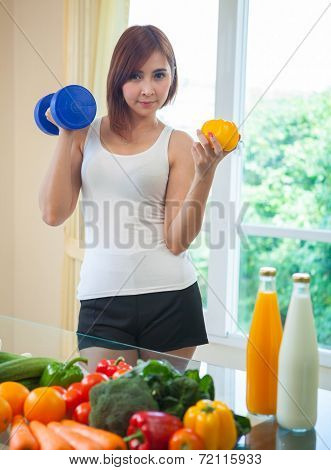 Healthy Woman With Vegetables