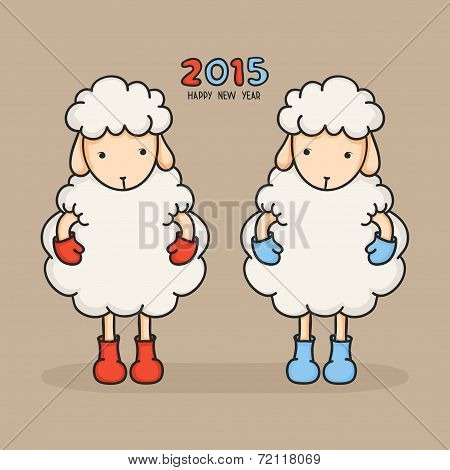 Colorful, cute sheep in boots. Happy new year 2015. Greeting card. Chinese symbol. Vector illustrati