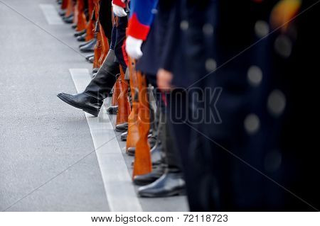 Soldier Boot Standing Out From The Line