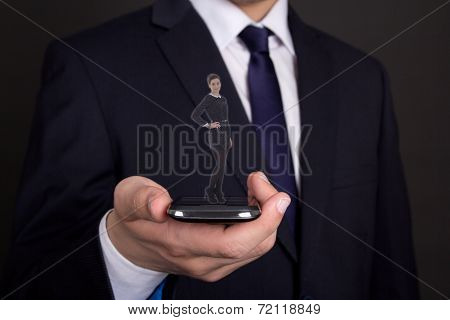 Business Man Hand Holding Modern Smart Phone With Woman Proection