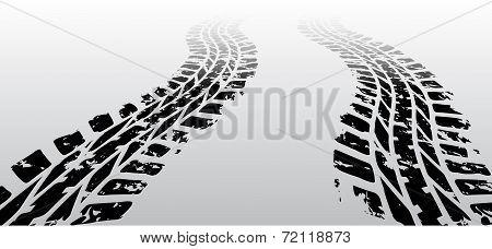 Zig zag tire track