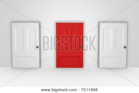 Three doors to choose from - a 3d image