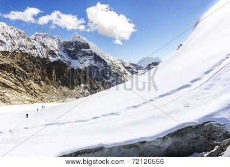 View Of Cho La Pass, Himalayas In Nepal.