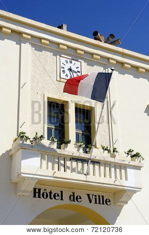 Facade Of The Town Hall Of The French Town Of Saintes-maries-de-la-mer