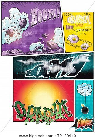 Image comic book pages with different background comic strips and various inscriptions boom