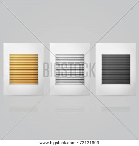 Vector illustration of window louvers in frame