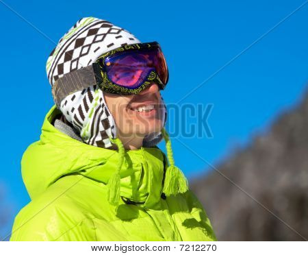 Young Man Smiling In Ski Mask