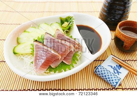 Japanese traditional cuisine  of fresh bonito sashimi