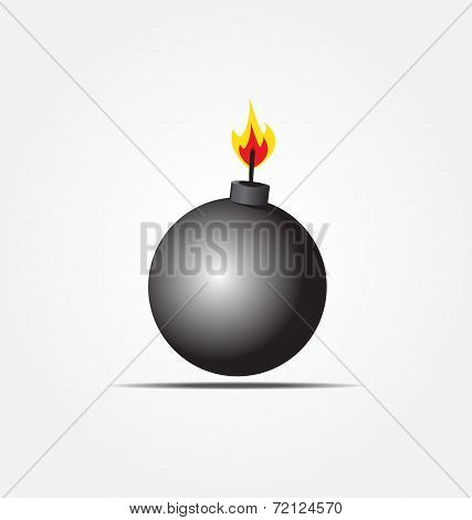 Black Bomb Icon About To Explode With Burning Wick Vector Illustration